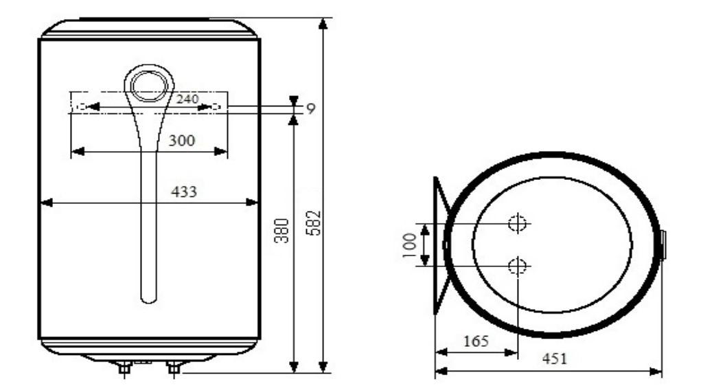 Бойлер Atlantic Steatite Elite VM 050 D400-2-BC размеры