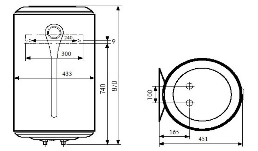 Бойлер Atlantic Steatite Elite VM 100 D400-2-BC размеры