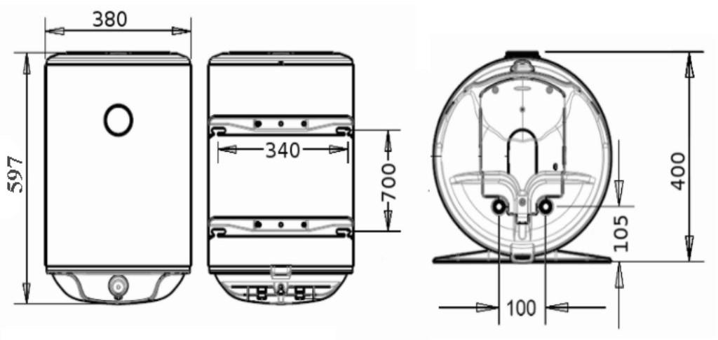 Бойлер Atlantic Steatite Slim VM 30 D325-2-BC - размеры