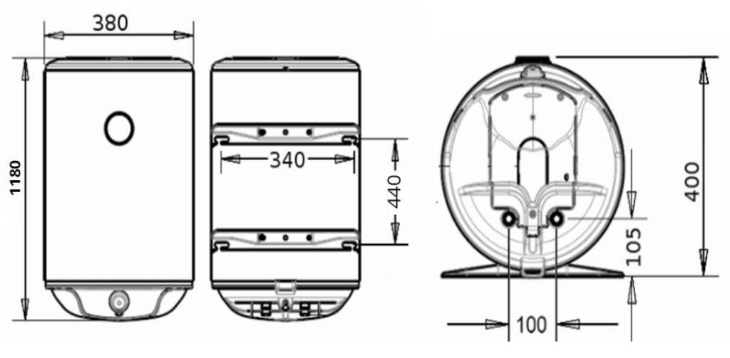 Бойлер Atlantic Steatite Slim VM 80 D325-2-BC - размеры